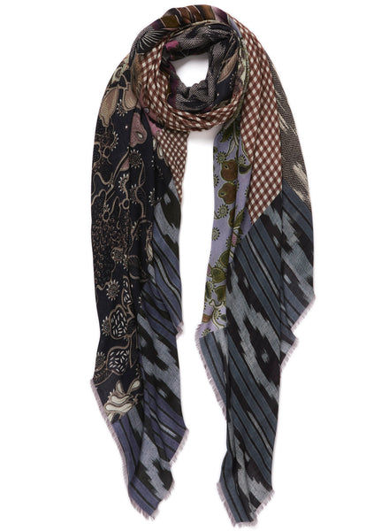 JANE CARR The Holiday Wrap in Toffee, blue, brown and pink printed modal and cashmere scarf - tied