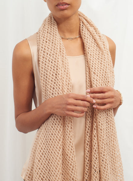 The Mesh Scarf in Buffy, blush grid woven cashmere scarf - model
