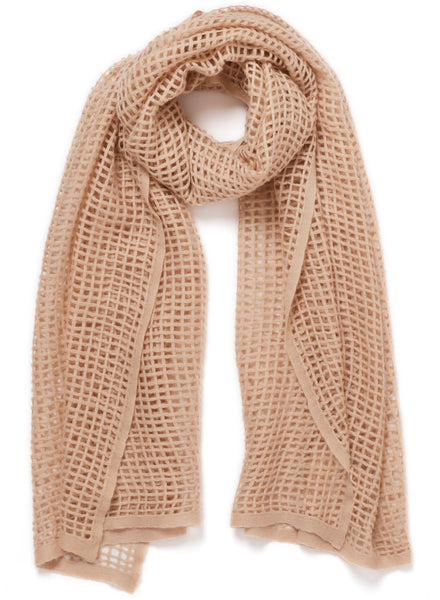 The Mesh Scarf in Buffy, blush grid woven cashmere scarf - tied
