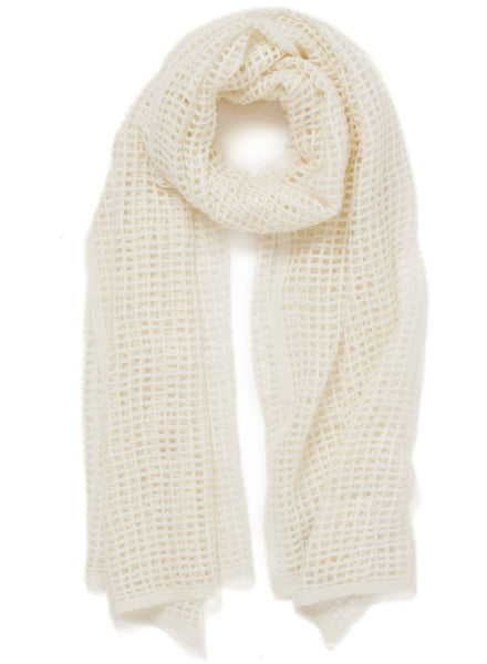 The Mesh Scarf in Cream, cream grid woven cashmere scarf - tied