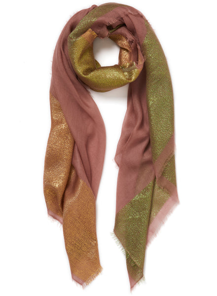 JANE CARR The Block Square in Gelato, pink pure cashmere scarf with metallic border - tied