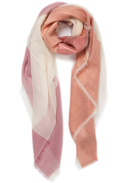JANE CARR The Block Square in White, white pure cashmere scarf with metallic border - tied