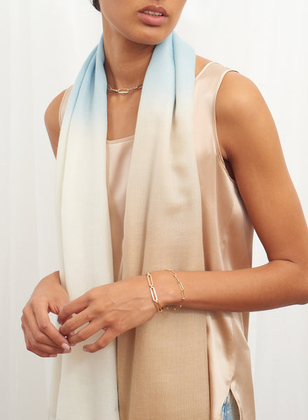 JANE CARR The Wave Carré in Amalfi, blue and neutral hand painted cashmere dégradé square – model