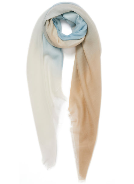 JANE CARR The Wave Carré in Amalfi, blue and neutral hand painted cashmere dégradé square - tied