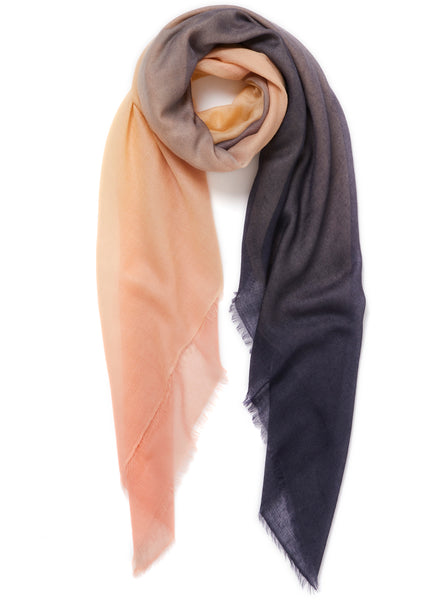 JANE CARR The Wave Carré in Shell, pink, cream and navy hand painted cashmere dégradé square - tied