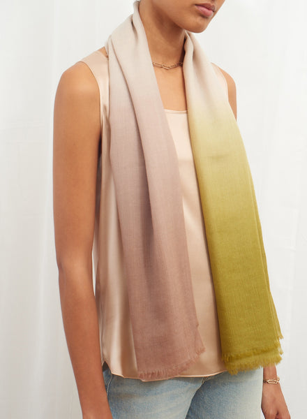 JANE CARR The Wave Carré in Wisteria, dark lime, off-white and taupe hand painted cashmere dégradé square - model