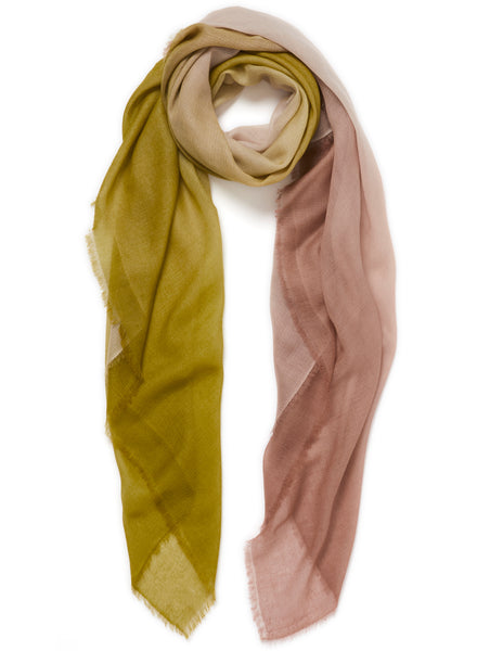 JANE CARR The Wave Carré in Wisteria, dark lime, off-white and taupe hand painted cashmere dégradé square - tied