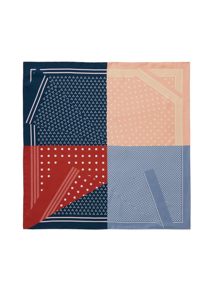 THE POLKA PETIT FOULARD - Blue, red and pink printed silk twill scarf