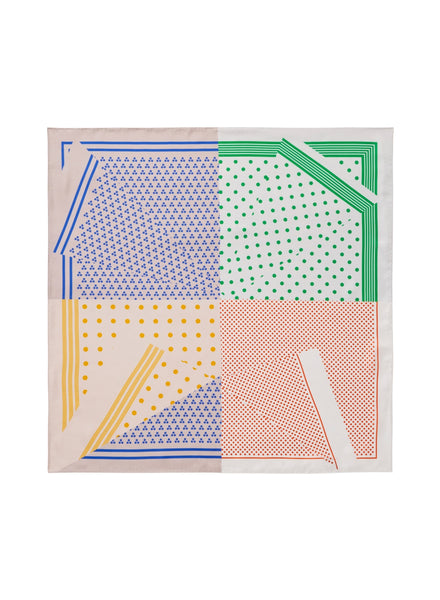THE POLKA PETIT FOULARD - Pastel multicolour printed silk twill scarf