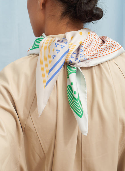 The Polka Petit Foulard in Gelato, pastel multicoloured printed silk twill scarf - model
