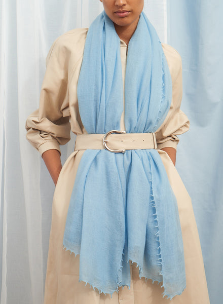 The Featherweight in Borage, pale blue woven cashmere scarf - model