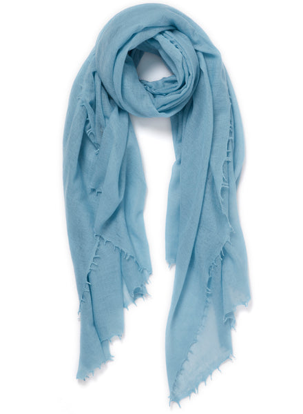 The Featherweight in Borage, pale blue woven cashmere scarf - tied