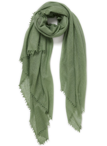 The Featherweight in Olive, green woven cashmere scarf - tied