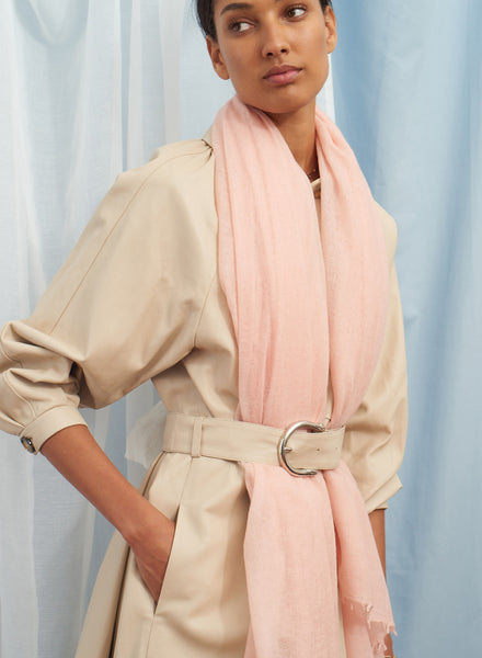 The Featherweight in Pink, pale pink woven cashmere scarf - model