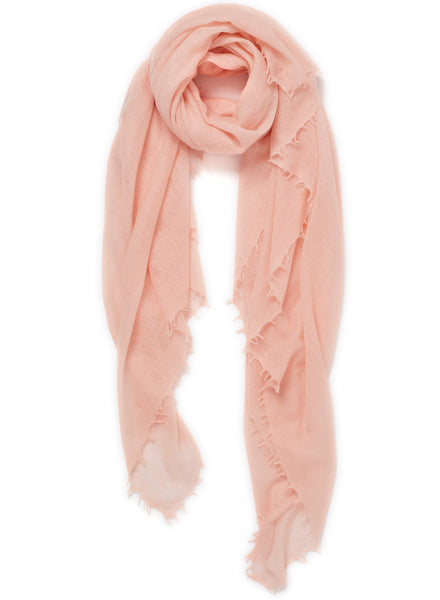 The Featherweight in Pink, pale pink woven cashmere scarf - tied