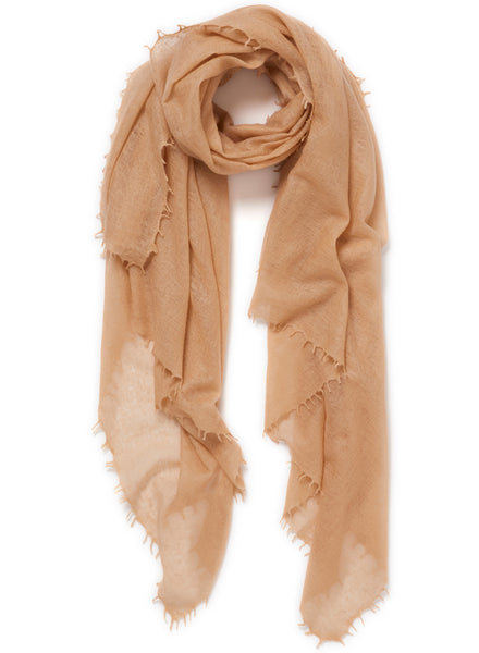 The Featherweight in Toffee, camel woven cashmere scarf - tied