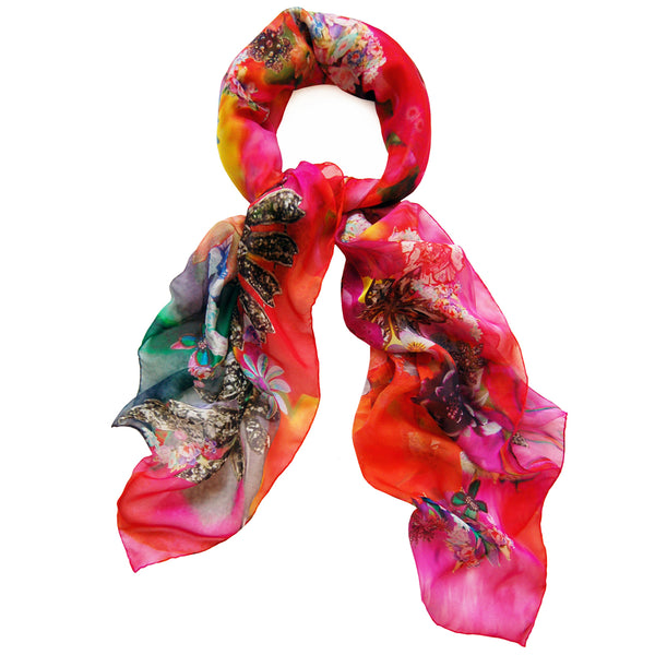 JANE CARR X HARRODS, THE GARDEN SQUARE- Exclusive printed silk chiffon scarf