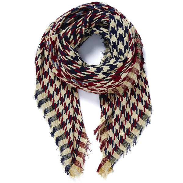 THE HOUNDSTOOTH SQUARE - Navy and burgundy cotton scarf with Lurex