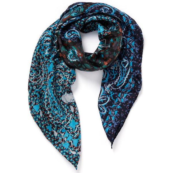 JANE CARR The Granny Smith Foulard in Electric, blue multicoloured printed silk twill scarf – tied
