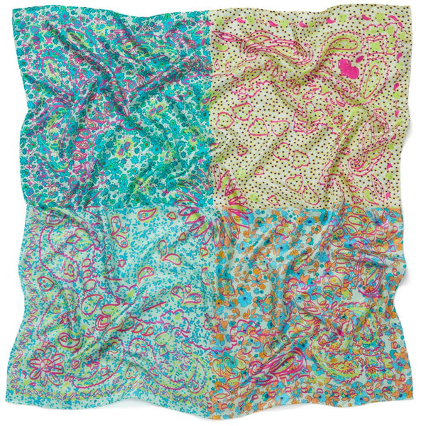 JANE CARR The Granny Smith Foulard in Tiffany, turquoise multicoloured silk twill scarf – Crinkly
