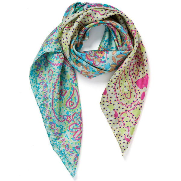 JANE CARR The Granny Smith Foulard in Tiffany, turquoise multicoloured silk twill scarf – Tied