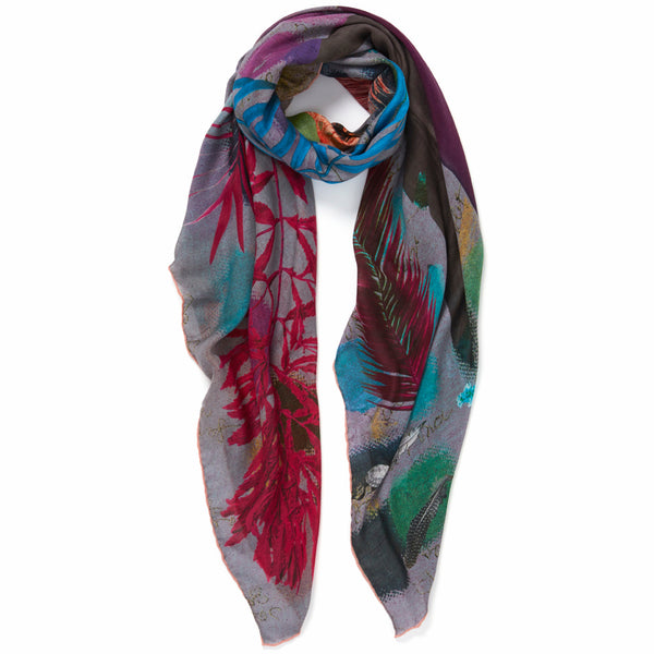 JANE CARR The Sketch Square in Blue, multicoloured printed modal and cashmere scarf – tied