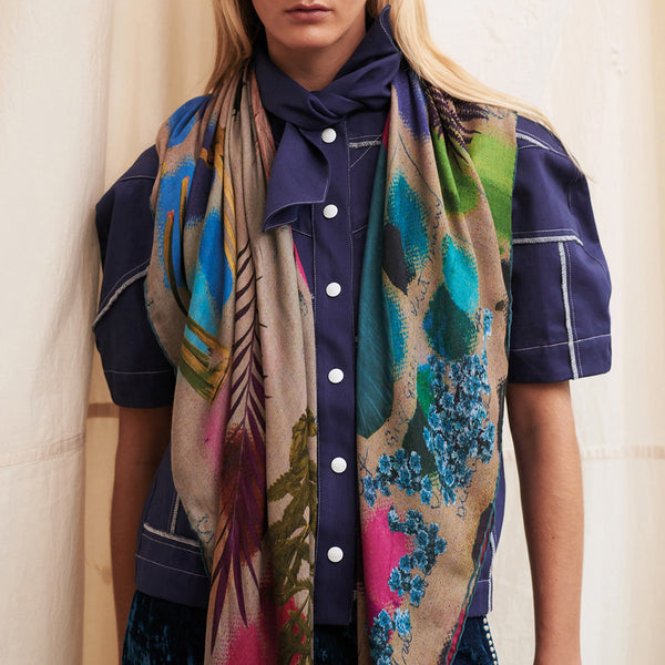 JANE CARR The Sketch Square in Putty, bright multicoloured printed modal and cashmere scarf – model
