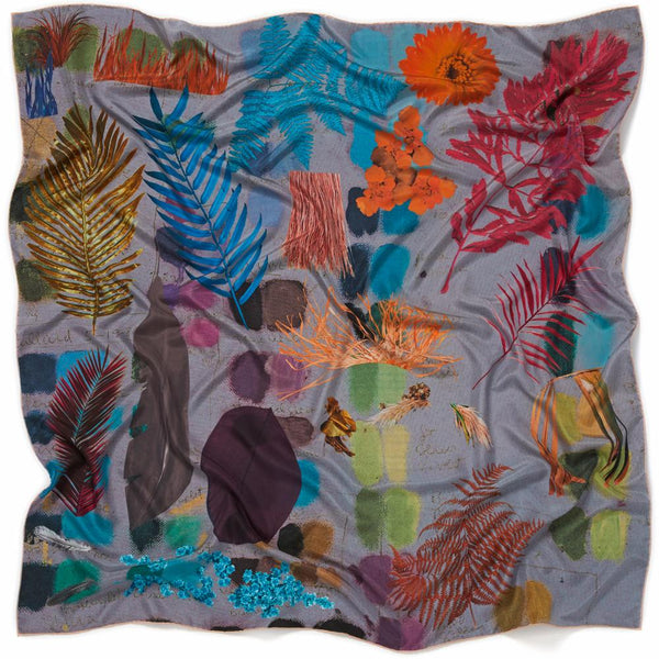 JANE CARR The Sketch Square in Blue, multicoloured printed silk scarf – crinkly