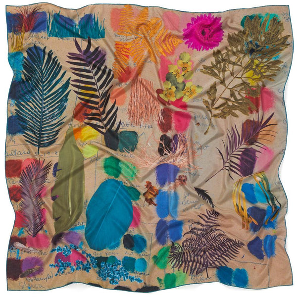 JANE CARR The Sketch Square in Putty, bright multicoloured printed silk scarf – crinkly