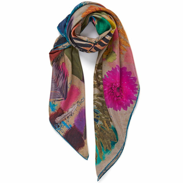 JANE CARR The Sketch Square in Putty, bright multicoloured printed silk scarf – tied