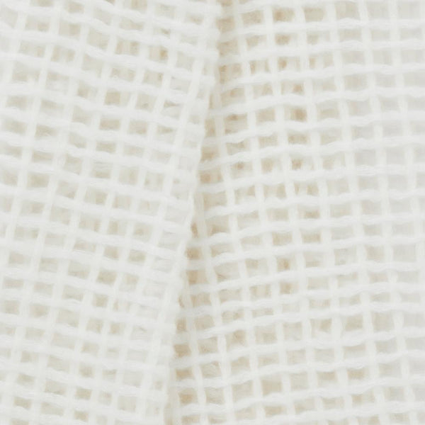 JANE CARR The Mesh Scarf in Pearl, white grid woven cashmere scarf – detail