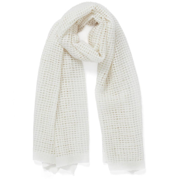 JANE CARR The Mesh Scarf in Pearl, white grid woven cashmere scarf – tied