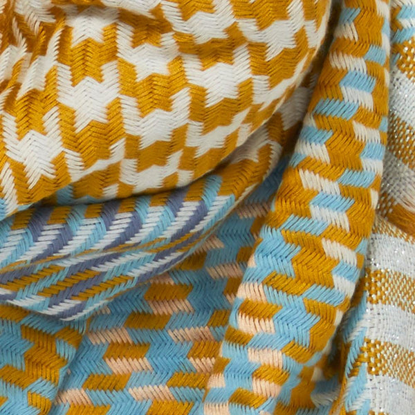 JANE CARR The Houndstooth Square in Bronze, mustard and blue checked modal and cotton scarf with Lurex – detail