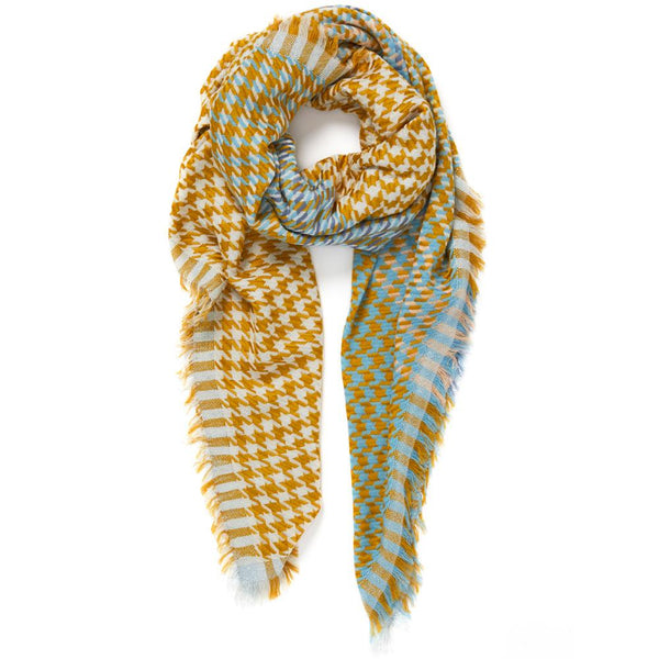 JANE CARR The Houndstooth Square in Bronze, mustard and blue checked modal and cotton scarf with Lurex – tied