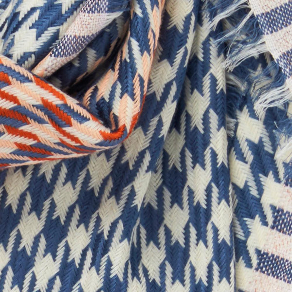 JANE CARR The Houndstooth Square in Mondrian, blue and white checked modal and cotton scarf with Lurex – detail