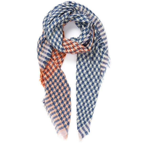 JANE CARR The Houndstooth Square in Mondrian, blue and white checked modal and cotton scarf with Lurex – tied