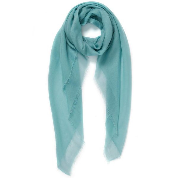 JANE CARR The Sheer Fray Square in Cactus, turquoise super fine pure cashmere scarf – Tied