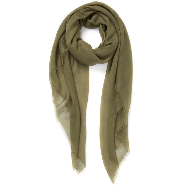 THE SHEER FRAY SQUARE - Khaki green super fine pure cashmere scarf