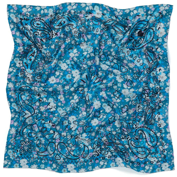 JANE CARR The Pixie Petit Foulard in Boy, blue printed silk twill scarf – crinkly