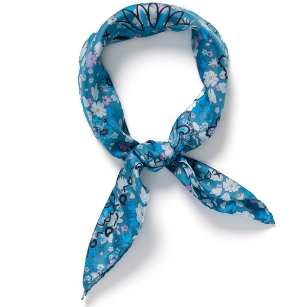 JANE CARR The Pixie Petit Foulard in Boy, blue printed silk twill scarf – tied