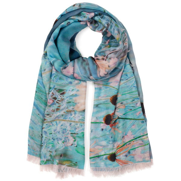 JANE CARR X Piet Oudolf and Hauser & Wirth Wrap - 'Bloom' printed modal cashmere wrap