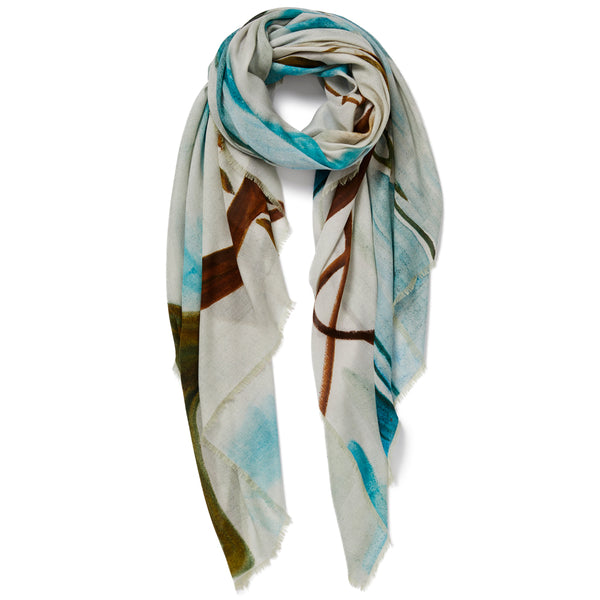 JANE CARR X ZHANG ENLI AND HAUSER & WIRTH POND WRAP - Tonal modal cashmere scarf