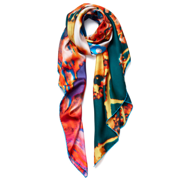 JANE CARR X Pipilotti Rist and Hauser & Wirth Square - 'APPLE BLOSSOM' printed silk twill scarf