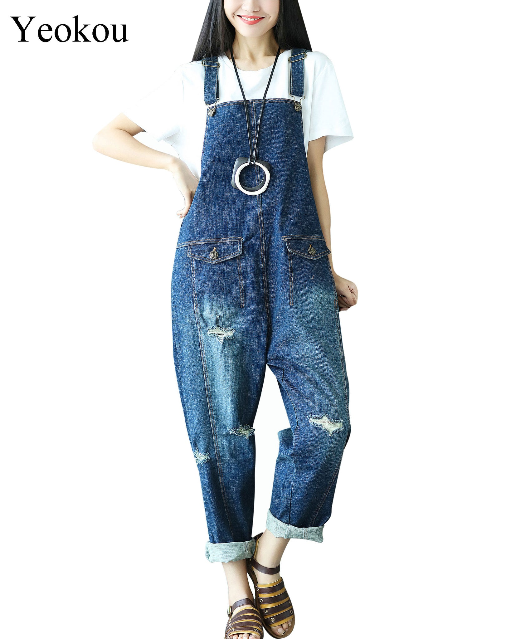 1c94e28e527 Yeokou Women s Casual Loose Denim Overalls Oversized Baggy Wide Leg Harem  Pants ...