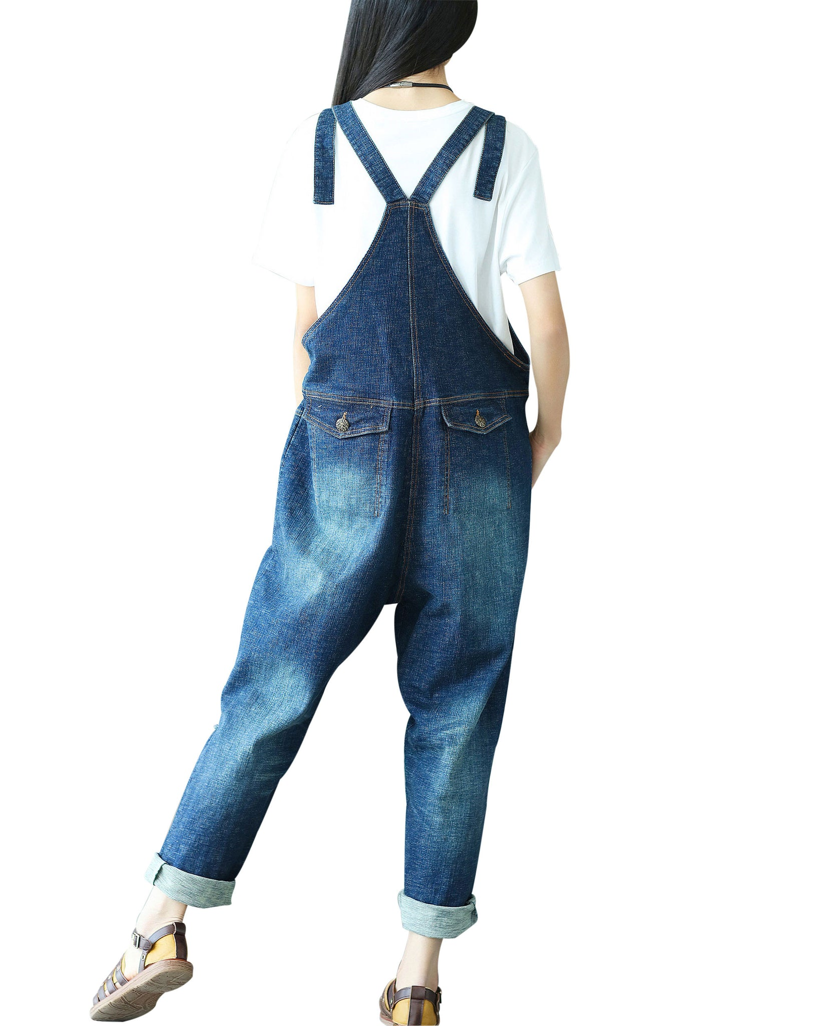 ea0cbe1ff10 ... Yeokou Women s Casual Loose Denim Overalls Oversized Baggy Wide Leg  Harem Pants ...