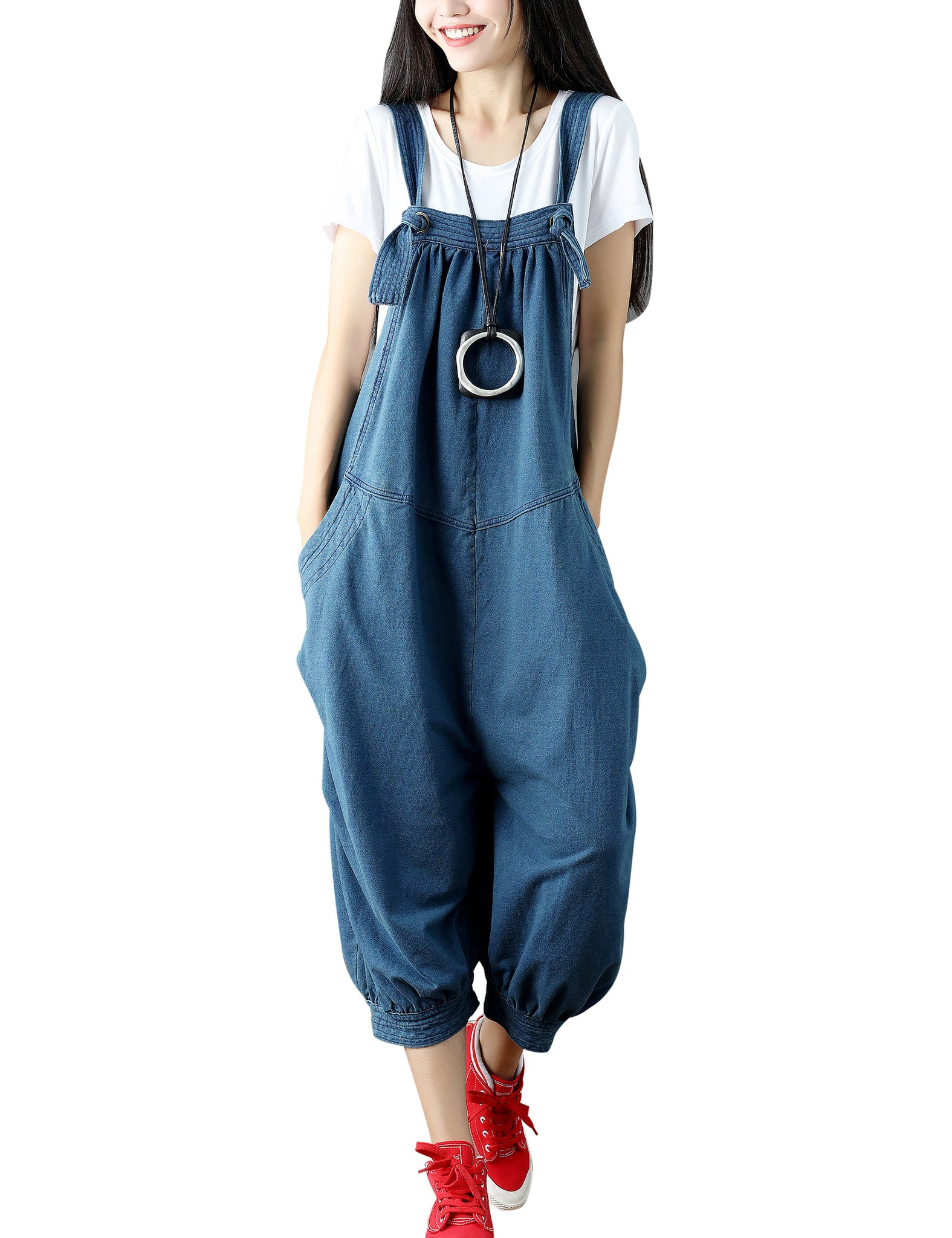 784ce4f4fdb Yeokou Womens Loose Baggy Cotton Wide Leg Jumpsuit Rompers Overalls Harem  Pants