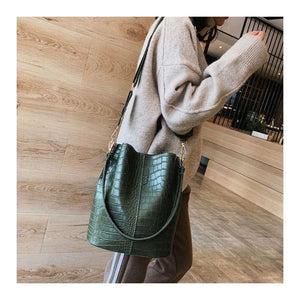 Vegan Shoulder Bag -Olive Croc - spa-noir
