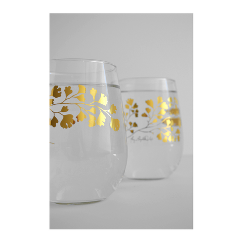 Gold Maidenhair Stemless Glasses - spa-noir