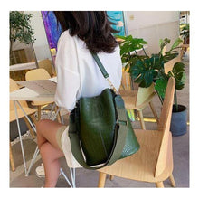 Load image into Gallery viewer, Vegan Shoulder Bag -Olive Croc - spa-noir