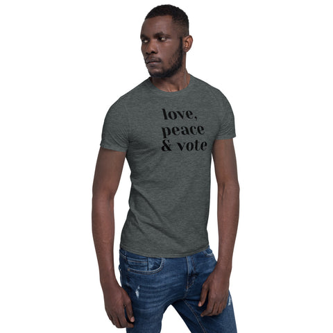 Love, Peace and Vote T-shirt - spa-noir